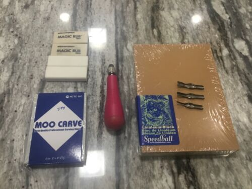 "Speedball 5"" x 7"" Lino Block, Cutters, Moo Carve and Magic Rub Lot - NEW COND"