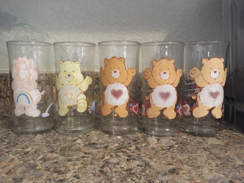 1983 Vintage Care Bear *Pizza Hut Collecters Series* Glass Tumblers