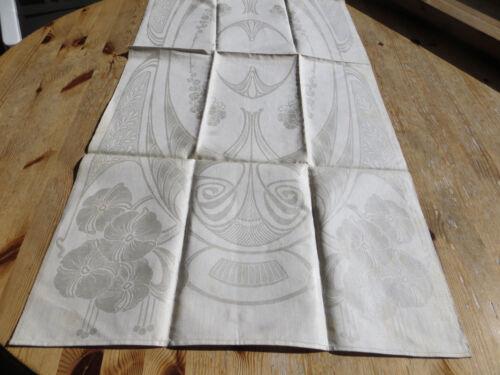 Pretty Art Nouveau  Arts  Crafts Towel Wallhanging Geometrics Flowers  Mono EB