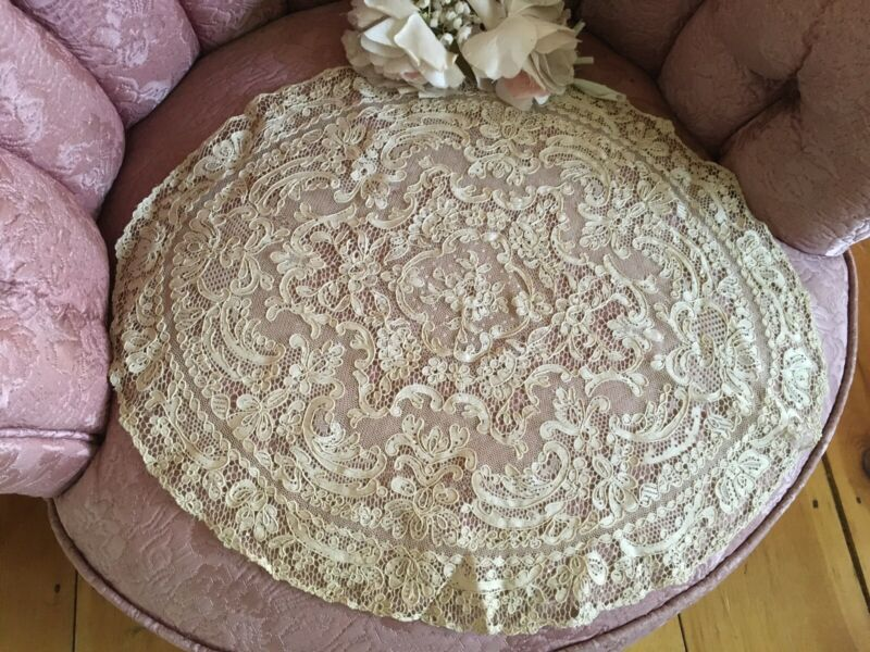 Lg Antique French Tambour Lace Table doily Cotton Netting #F8
