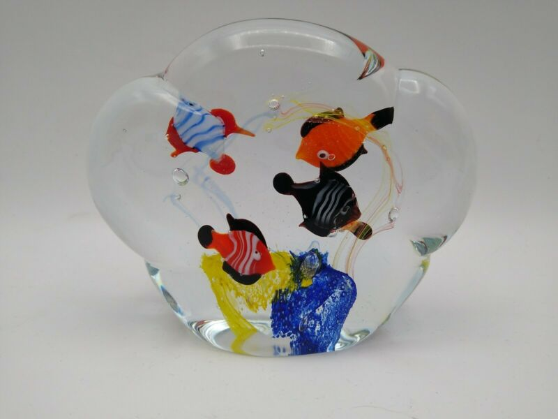 "Aquarium Paperweight Tropical Fish Hand Blown Art Glass 3 3/4""h X  4 3/4""w"