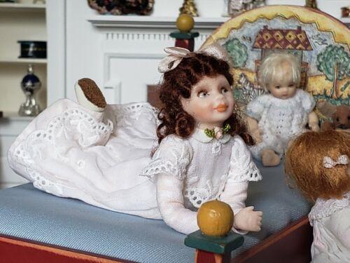 Dollhouse Miniature Artisan Pat Melvin Porcelain Girl Doll Laying Down 1:12