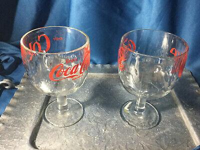 (2)Vtg BARTLETT COLLINS COKE/COCA COLA THUMBPRINT Goblet/Soda Fountain Glass RED