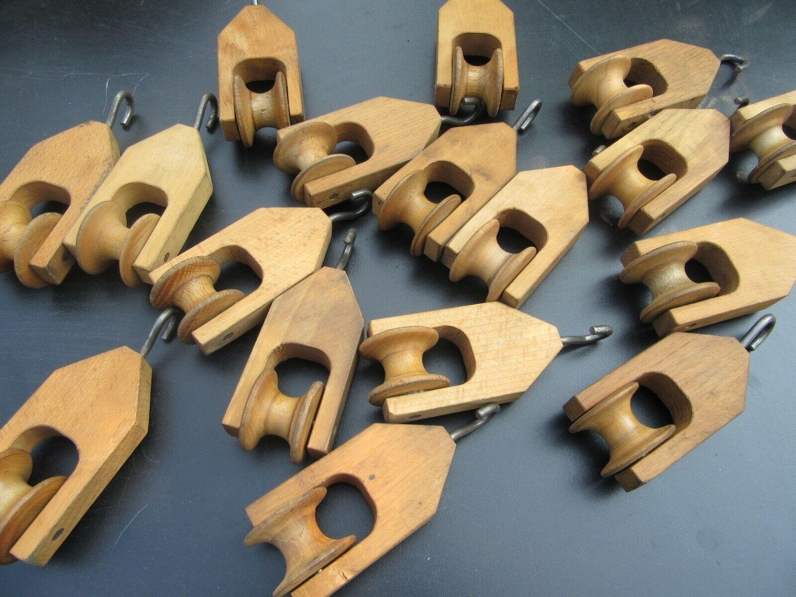 Umlenkrolle Holz Webstuhl Flaschenzug Industrie Design DEKO Laufrolle A82