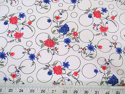 Discount Fabric Challis Rayon Pink and Blue Floral on Bubbles 2 yds @ $6.99 K201 - Pink Discount