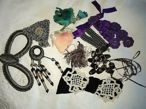 ANTIQUE/VINTAGE LOT OF MILLINERY~HAT APPLIQUES~SILK~LACE~RIBBON~TASSELS~WHIMSIES