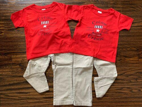 Lot 2 Sets Creme de la Creme French Toast School Uniform T-shirts 4T Pants 3T