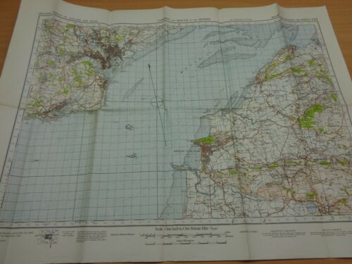 """WW2 WAR OFFICE Map """"CARDIFF & MOUTH OF THE SEVERN"""" (Home Guard, Army, Civil Def)"""
