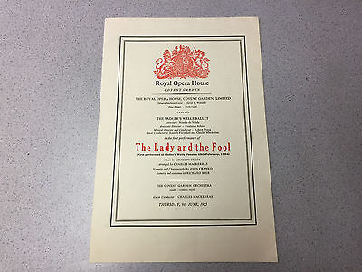 VINTAGE 1955 ROYAL OPERA HOUSE PROGRAM THE LADY AND FOOL COVENT GARDEN
