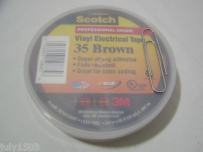 One (1) roll USA 3M Scotch 35 Brown Electrical Tape 3/4