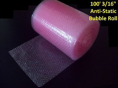 """100 Foot PINK Anti-Static Bubble Wrap® Rolls! 3/16"""" Small Bubbles! Perforated!"""