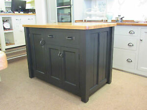 MURDOCH TROON FREESTANDING PAINTED PINE KITCHEN ISLAND UNIT OAK TOP