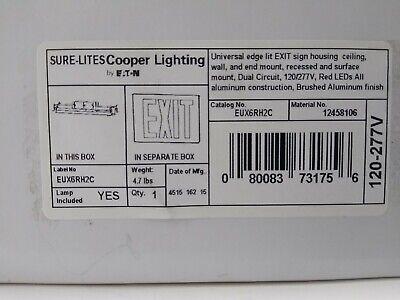 Cooper Lighting Sure-lites Eux6rh2c Universal Edge Lit Exit Sign Housing Mount