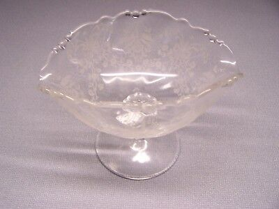 - NICE Old HEISEY Empress Orchid Pattern Oval Nut Compote on Pedestal