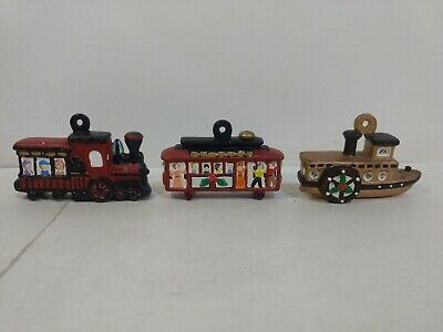Set Of 3 Ceramic Boat Train Trolley Christmas Tree Ornament Decoration ch2582