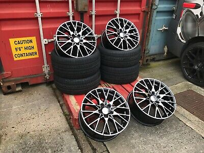 "Alloy Wheels +TYRES 4x 19"" Black Pol Staggered BMW 5 Series E60 E61 with Spacers"