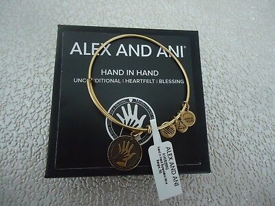 Alex and Ani HAND IN HAND Bangle Bracelet Russian Gold New W/Tag Card & Box