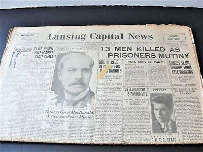 Lansing Capital News-Throngs Greet MacDonald,Lancing, Mich.Oct.5,1929 Newspaper.