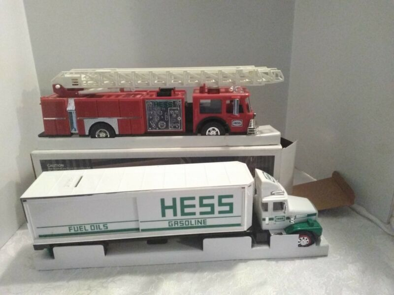 1986 and 1987 Hess Toy Banks, NOS, Red FIRE TRUCK and White Tractor Trailor