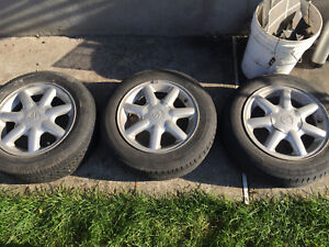 2x 175 65 r14 and 1x 185 60 r14 with Original VW Volkswagen Mags