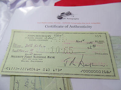 "John Houseman AUTOGRAPHED auto hand SIGNED check ""They EARN It"" really?"