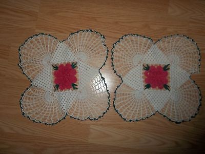 Pair Hand Crocheted Doilies w/Pink Rose Centers
