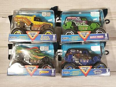 Monster Jam Diecast Truck LOT Earth Shaker, Grave Digger, Dragon & Souva Digger