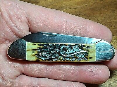 Case XX Canoe Knife 62131 Antique Bone Silver Script 2001 mfg