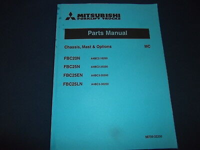 Mitsubishi Fbc20n Fbc25n Fbc25en Fbc25ln Forklift Parts Manual Book Catalog