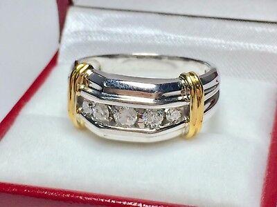 14k Mens Diamond Rings - 1 Ct Round Cut Sim Diamond 14K White Gold Fn 5-Stone Mens Wedding Band Ring