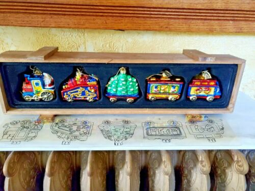 2003 Thomas Pacconi Classics Christmas Train 5 Glass Ornaments in Wooden Crate