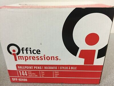 Office Impressions 92490 Economy Stick Ballpoint Pen Black Ink 0.7 Mm 144pac