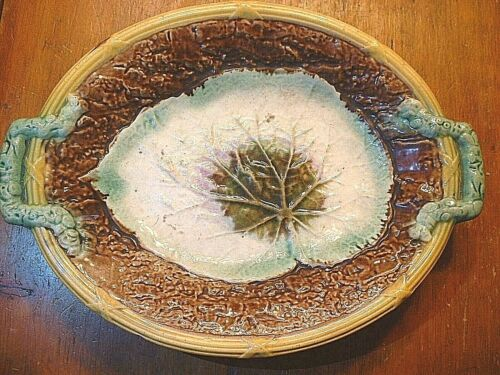 """Antique 19ThC Majolica Pottery Handled Begonia 12 1/2"""" Tray"""