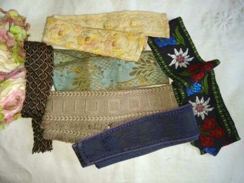 ANTIQUE/VINTAGE LOT OF WOVEN/EMBROIDERED/METALLIC RIBBON~BELTING~PASSEMENTERIE
