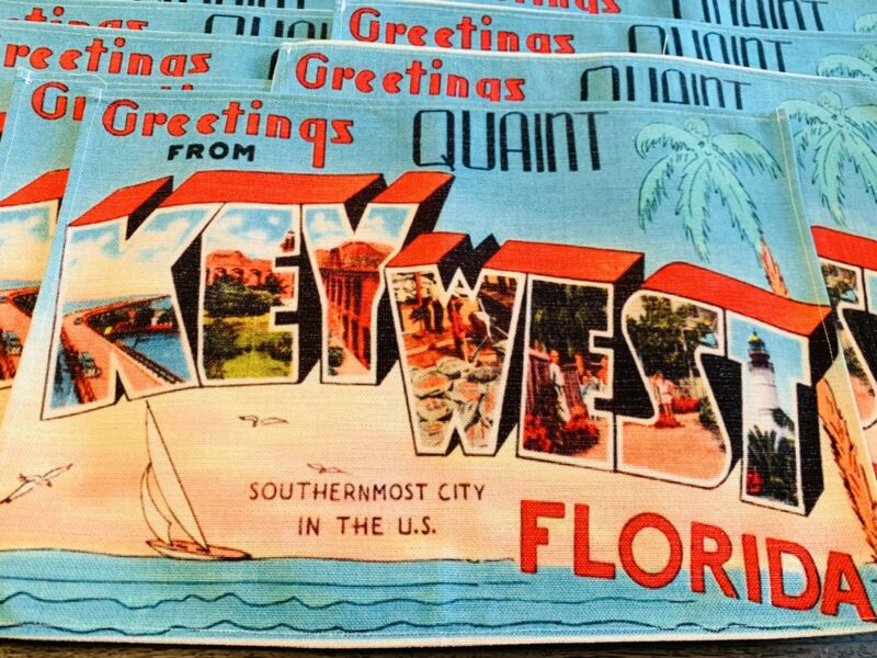 Greetings from Quant Key West Florida Old Vintage Travel Greetings 8 Placemats