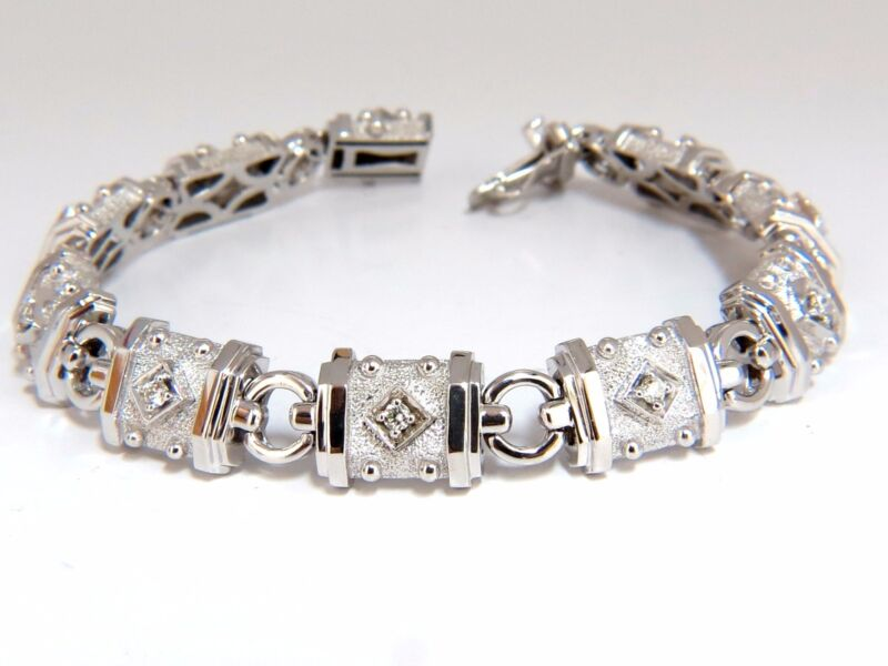 Deco Spanish Gothic Natural Diamond Tennis Bracelet .33ct. G/vs 14kt 7inch