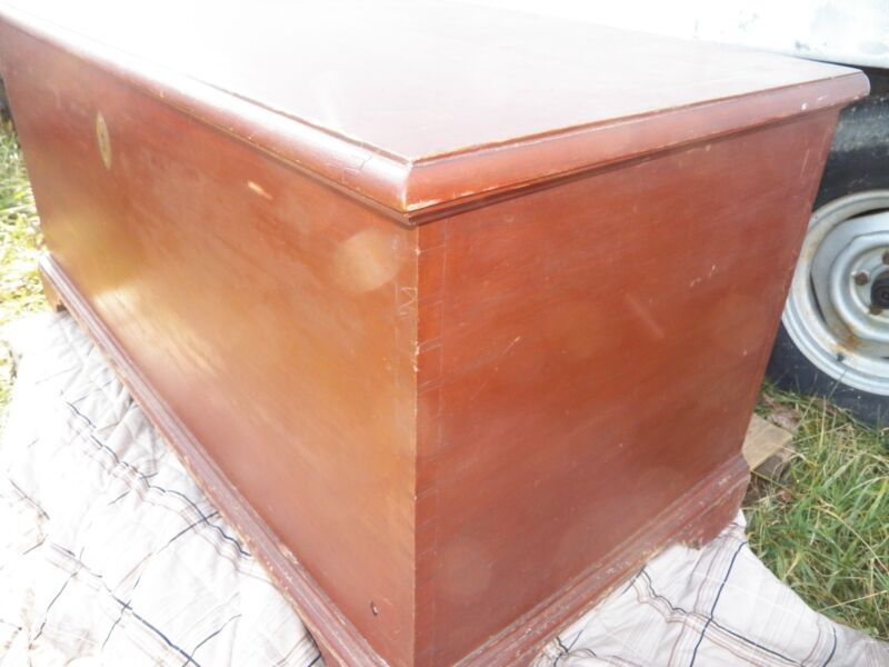Antique Hand dovetailed Pine blanket chest Bracket Feet Old Paint Red primitive