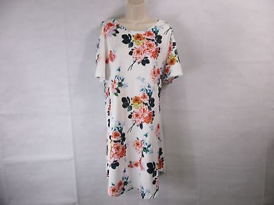 For G & PL Women's L White Floral Cold-Shoulder T-Shirt Dress  NEW