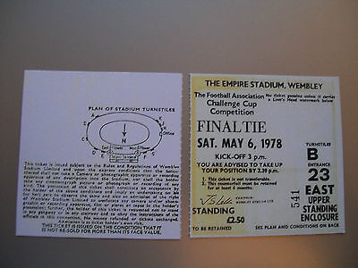 1978 F.A. Cup Final Ticket Arsenal v Ipswich Town mint condition.