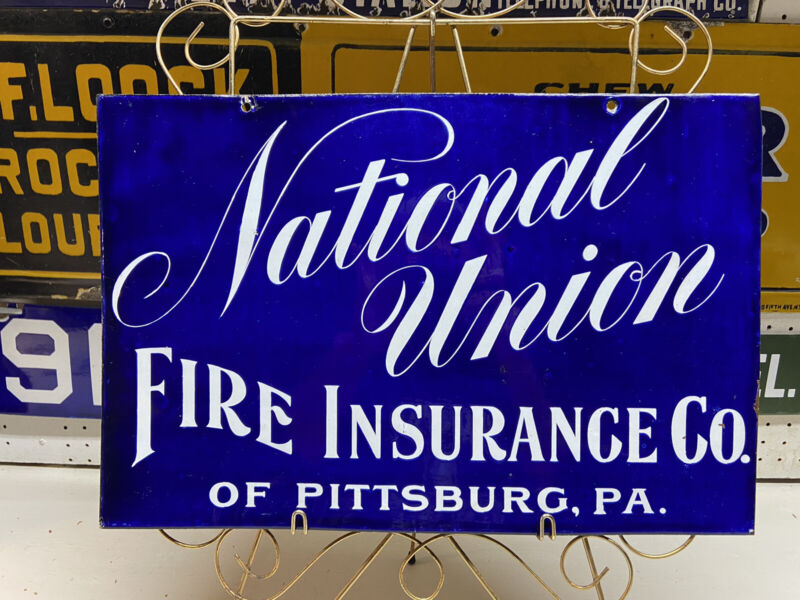 National Union Fire Insurance Porcelain Sign early 1900's