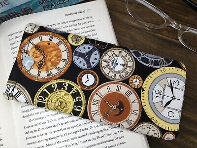 Handmade clock fabric glasses spectacle case snap pouch Steampunk