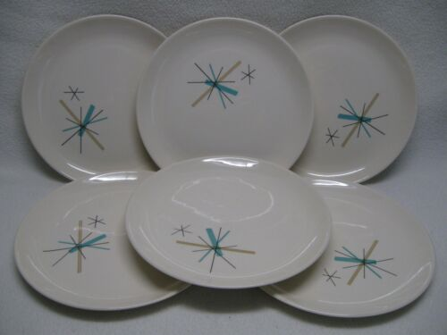 "Salem China North Star (6) 7 1/4"" Salad Plates Atomic Starburst USA Mid-Century"