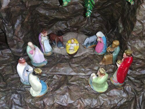 11 peace Antique vintage Nativity Germany jesus mary church Christmas Set Vintag