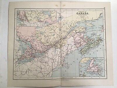 Canada, Eastern Provinces, Newfoundland, 1881 Antique Map, Philips, Original