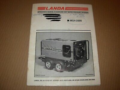 Landa Mg4-2000 Pressure Washer Operators Manual