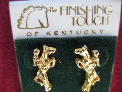 Gold tone pierced earrings, equestrian, horse and rider jumper
