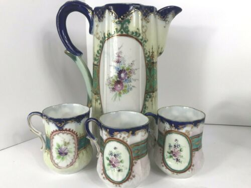 Antique Blue Floral Porcelain Pitcher With 3 Cups Gold Trim Hand Painted