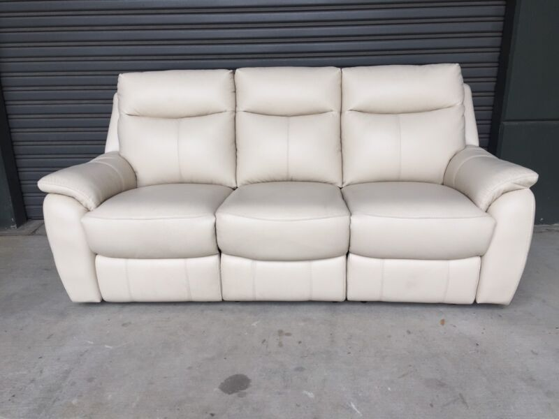 Domayne Rokka 3 Seat Leather Electric Recliner Sofa Lounge