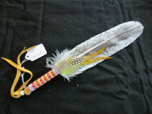 NATIVE AMERICAN CEREMONIAL BEADED SMUDGING FEATHER,    PE-0621*05504
