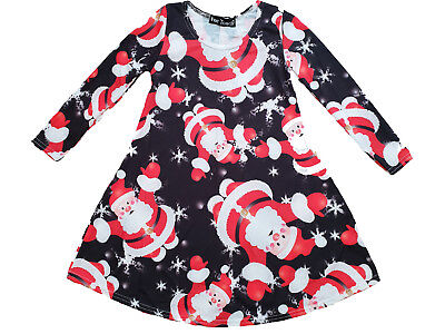 New Girls Christmas Swing Dress Santa Claus Xmas Party Dress Novelty Top Cheap](Inexpensive Christmas Party Dresses)